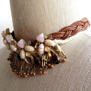 Jewelry - Braided Blooms Bib Leather Choker Anthropologie